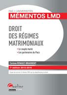 Mémento LMD - Droit des régimes matrimoniaux 2015-2016 | Renault-Brahinsky, Corinne